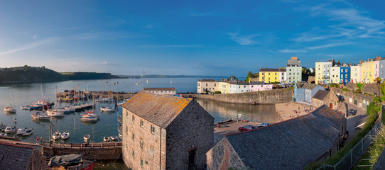 Panoramic view of Tenby harbour, South Wales, UK