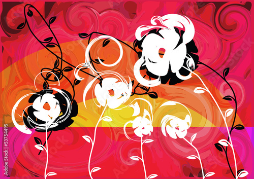 summer sunset flowers orange red abstract landscape