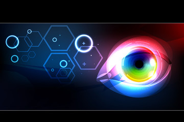 Eye, colorful iris, e-learning technology background