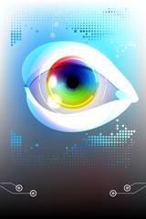 Eye, colorful iris, e-learning technology background