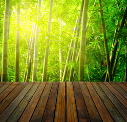 bamboo forest with ray of lights and plank woods, suitable for p