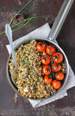 Cod fillet crumble with seeds and cherry tomatoes