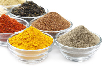 Variety of Raw Authentic Indian Spice Powder