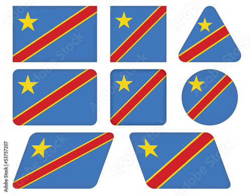 set of buttons with flag of Democratic Republic of the Congo