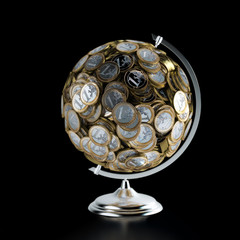 The Coins Globe (Money Conceptual Picture)  Isolated On Black