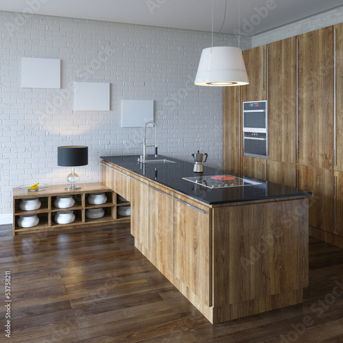 Luxury Kitchen Cabinet (Wooden Furniture) Perspective View