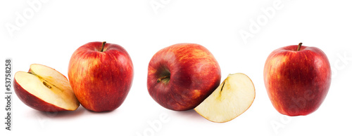 Ripe red apple compositions isolated