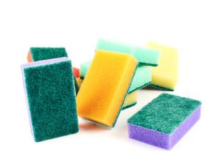 Colorful kitchen sponge composition