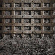 Średniowieczne Stare metalowe kraty na mur