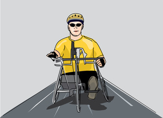 disabled man riding a bike