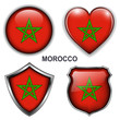 Morocco flag icons, vector buttons.