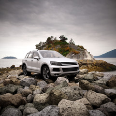 luxury 4x4 in natural environment 3d illustration