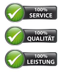 100% Service - 100% Qualität 100% Leistung - Button Label