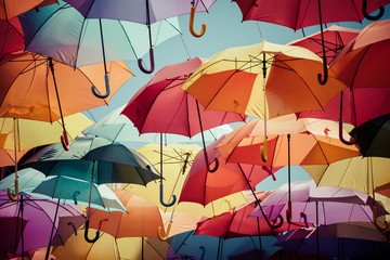 Background colorful umbrella street decoration.