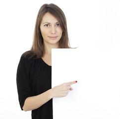 Frau mit Werbebanner