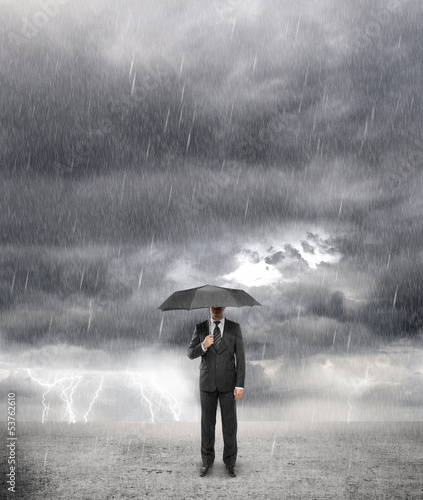 businessman in storm