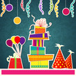 vector illustration of Happy Birthday card with gift and balloon