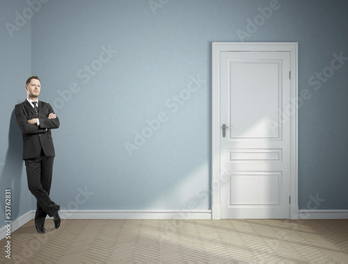 businessman in blue room