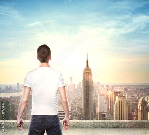 boy looking at city