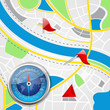 vector illustration of compass on road map with pointer