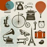 Ephemera - Set of vintage design elements poster