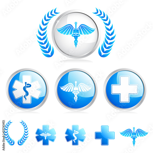 vector illustration of collection of different medical symbol