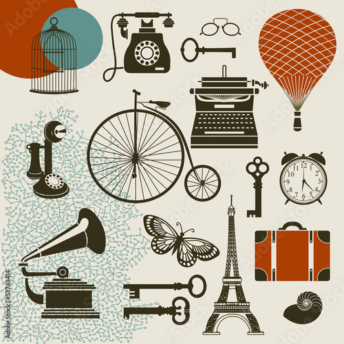 Ephemera - Set of vintage design elements