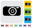 digital camera or point and shoot camera- simple vector graphic