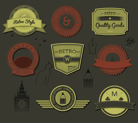 Retro-style sophisticated labels and tags