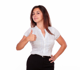 Beautiful woman showing positive sign with fingers
