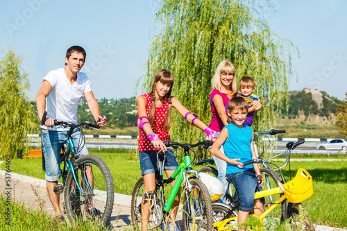 Parents and kids cycling
