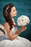 Fototapety Bride wedding dress bouguet bridel flowers