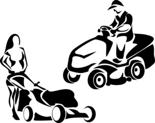 riding mower and lawnmower