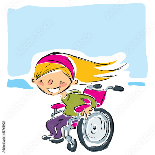 Happy cartoon smiling blonde girl in magenta wheelchair moving f