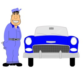 mechanic with car