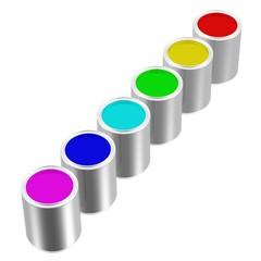 eine Reihe offener Farbdosen