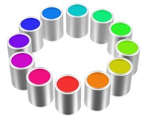 Farben in Dosen - Palette - Farbkreis