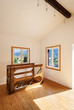 interior rustic house, room with windows