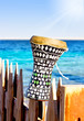 ethnic drum with a sea background. darbuka. traditional Egyptian