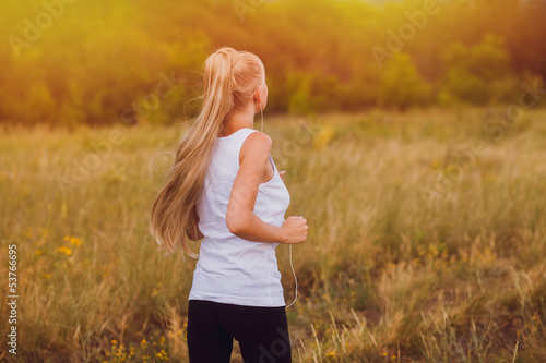 fitness sport woman blonde girl running runner nature lifestyle