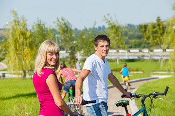 Parents enjoying cycling