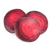 Red beets slices isolated on white background