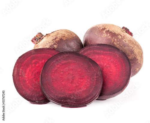 Red beets isolated on white background