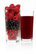 glass with berries and juice