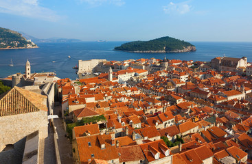 Dubrovnik Sunny Afternoon Panoramic View with The Harbor and old