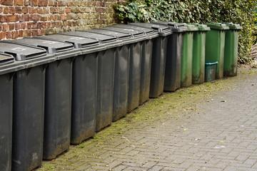 Line of residential wheelie bins