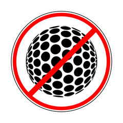 sign prohibiting golf ball