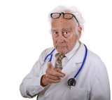 Mature doctor wearing a white lab coat pointing his finger