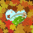 Autumn vector background with frame of maple leaves.