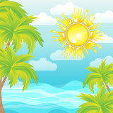 Summer background sea sun palms